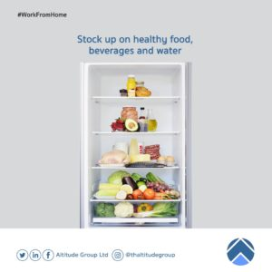 work from home - stock up on food, beverages and water